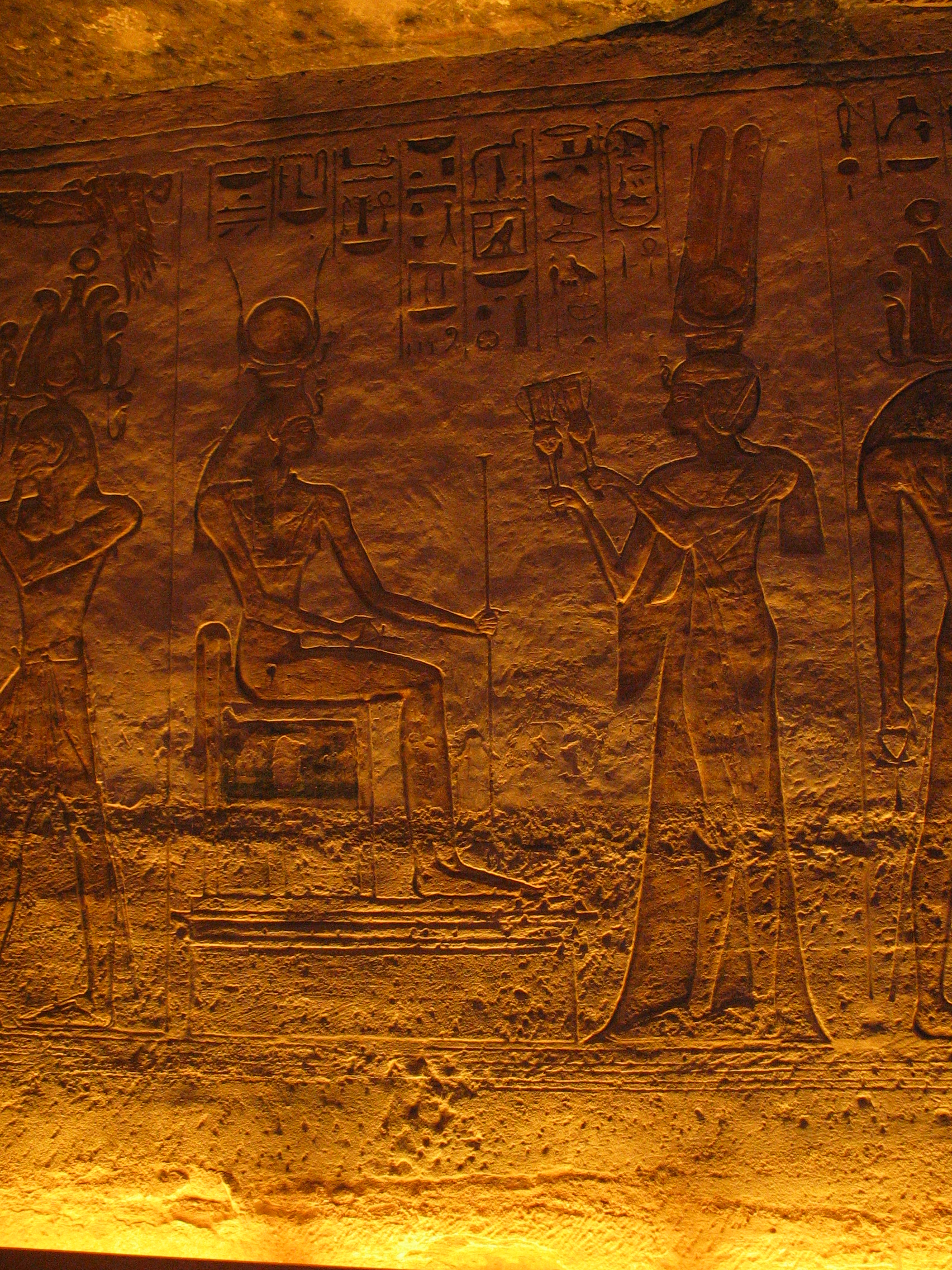 Nefertari depicted offering sistra to Hathor in smaller temple at Abu Simbel